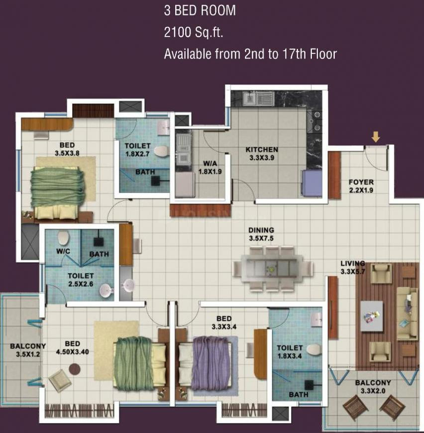 Galaxy Pallazio Azure Floor Plan: 3 BHK Unit with Built up area of 2100 sq.ft 1