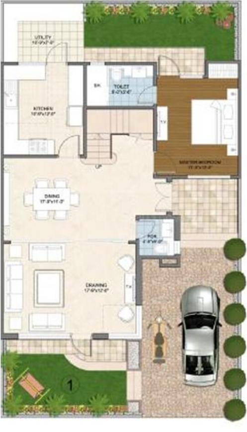 Aarone Countywalk Villa Floor Plan: 4 BHK Unit with Built up area of 2300 sq.ft 1