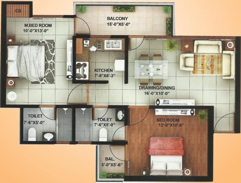 AFOWO Raksha Addela Floor Plan: 2 BHK Unit with Built up area of 1080 sq.ft 1