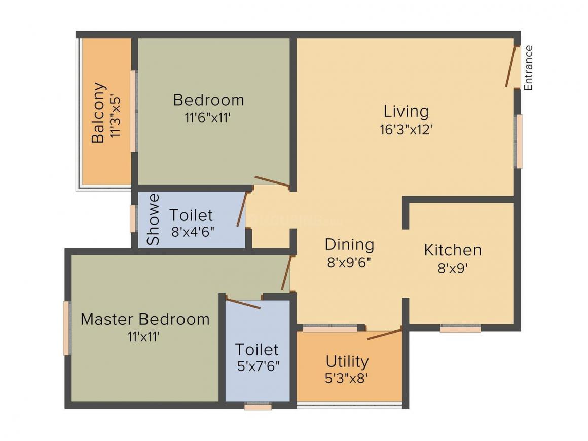 MV Value Plus Floor Plan: 2 BHK Unit with Built up area of 1055 sq.ft 1