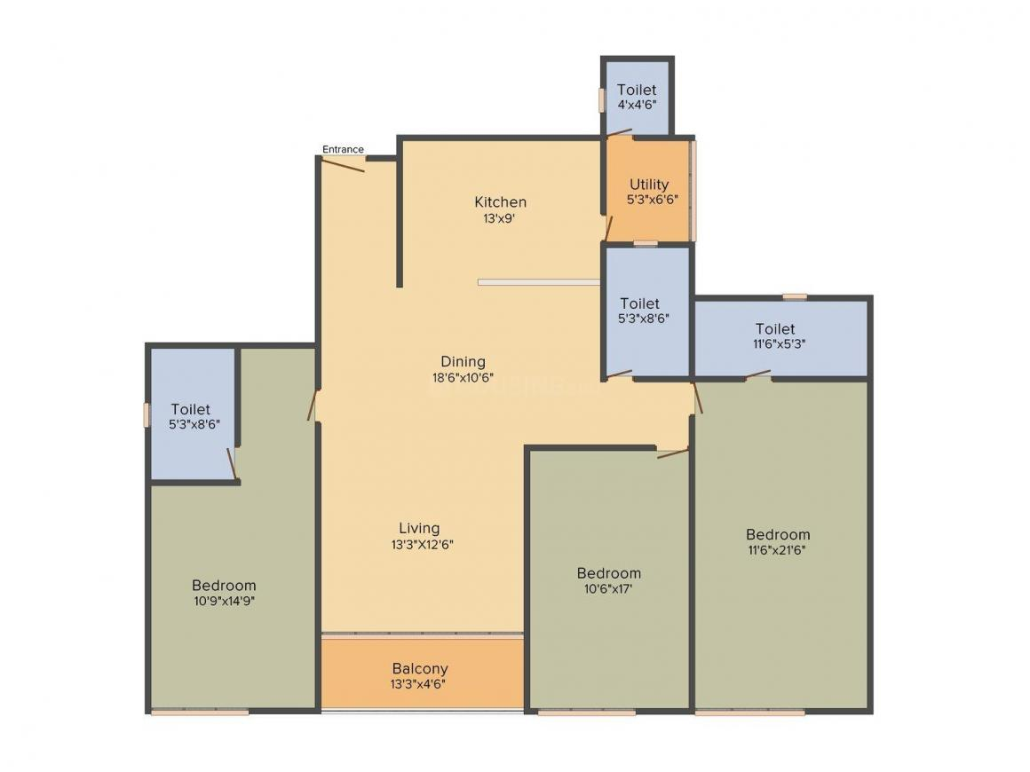 Risha One 49 Floor Plan: 3 BHK Unit with Built up area of 1674 sq.ft 1