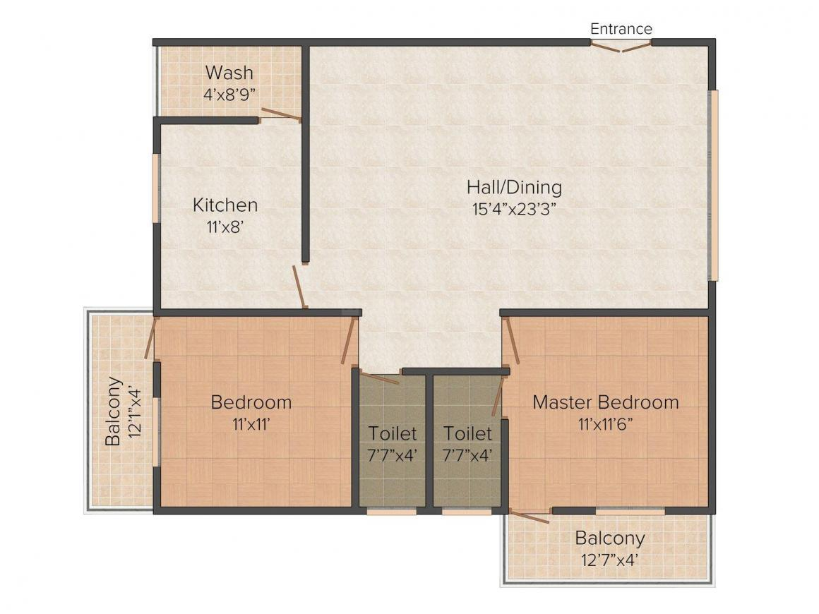Floor Plan Image of 0 - 1164 Sq.ft 2 BHK Apartment for buy in Subitsha Subi Elite