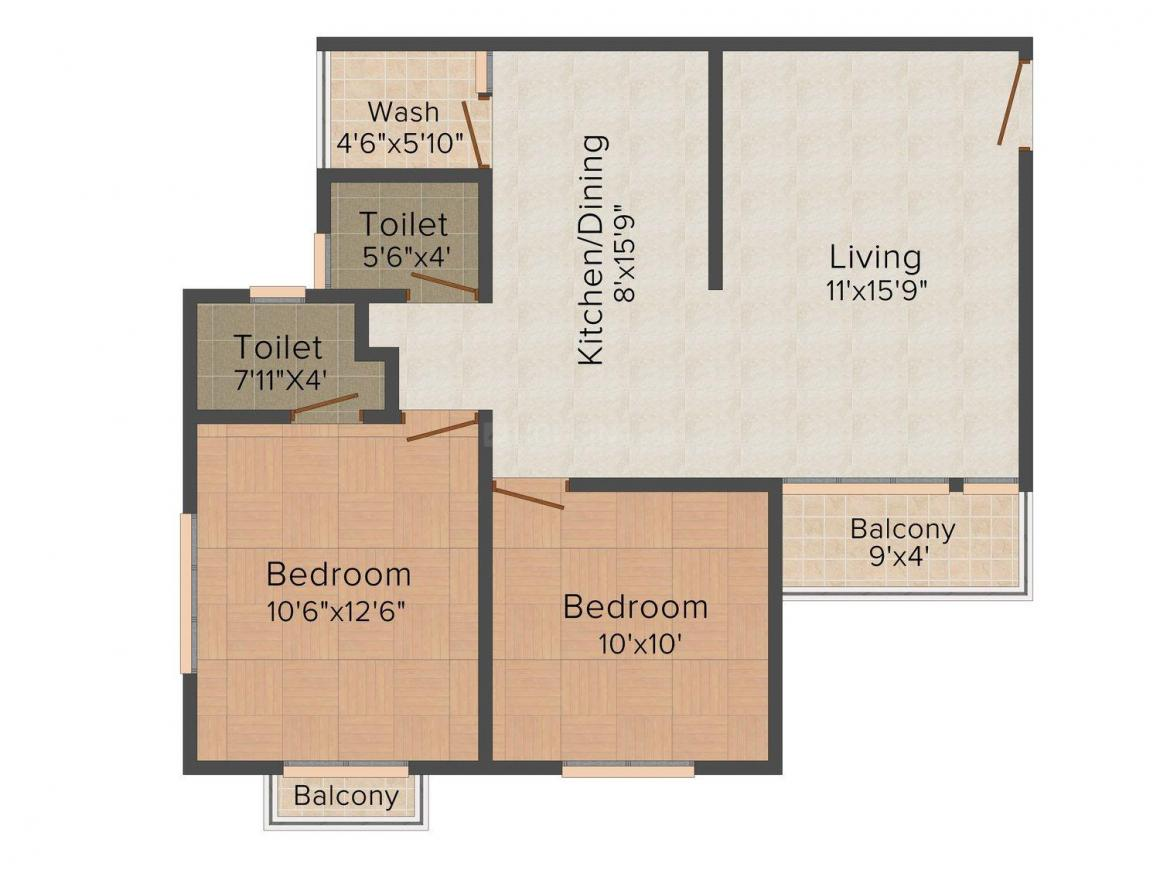 Aadhya Residency Floor Plan: 2 BHK Unit with Built up area of 710 sq.ft 1