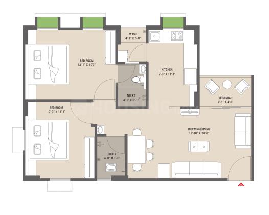 Himalaya Falaknuma Floor Plan: 2 BHK Unit with Built up area of 1134 sq.ft 1