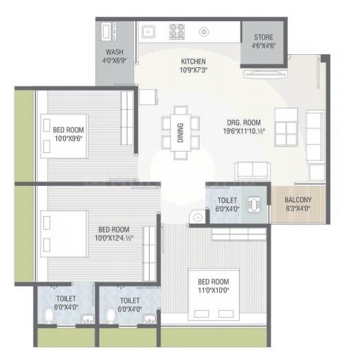 Shripad Heritage Floor Plan: 3 BHK Unit with Built up area of 778 sq.ft 1