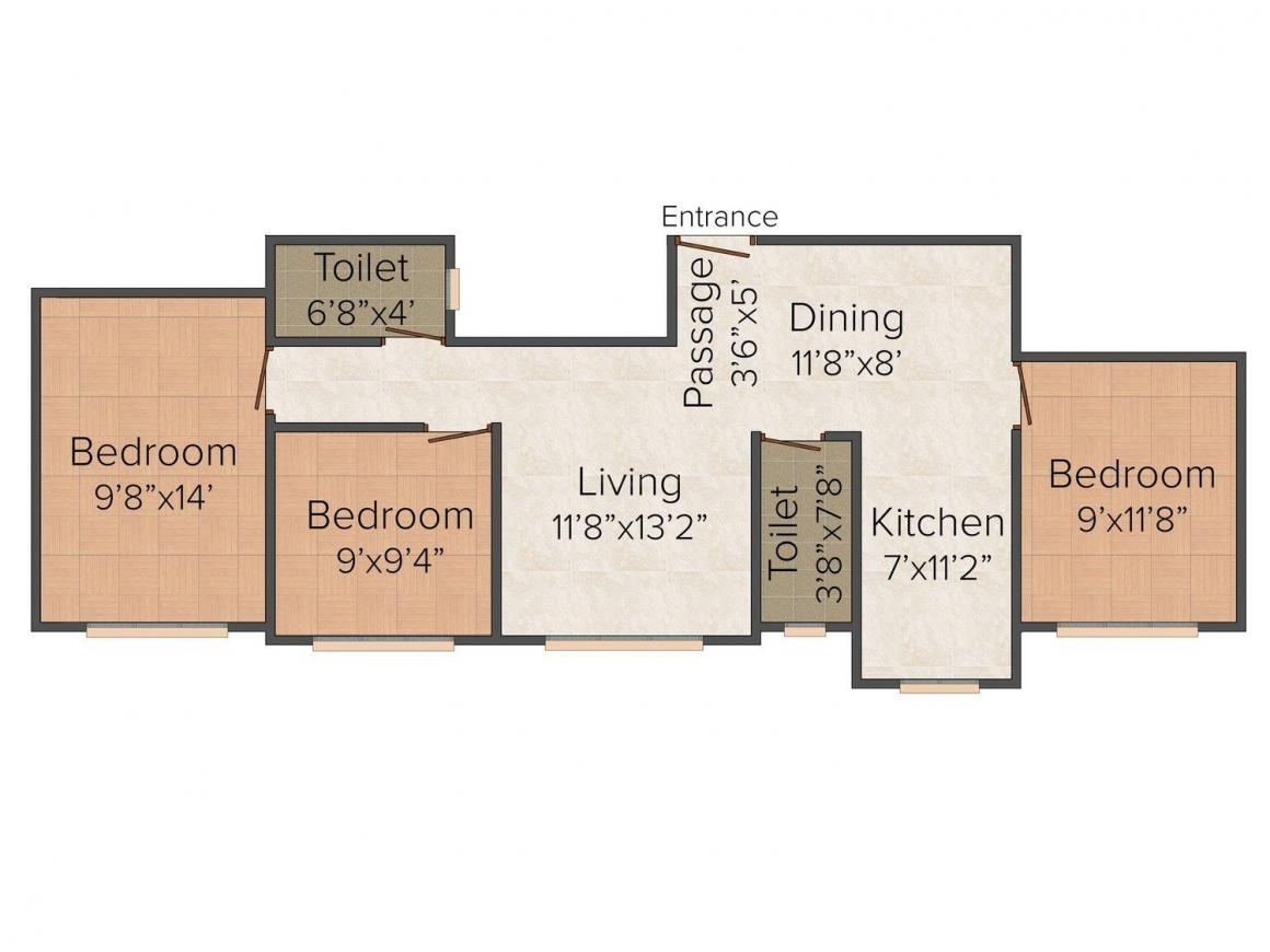 Floor Plan Image of 0 - 1575.0 Sq.ft 3 BHK Apartment for buy in Ssakash Jay Kusum CHSL