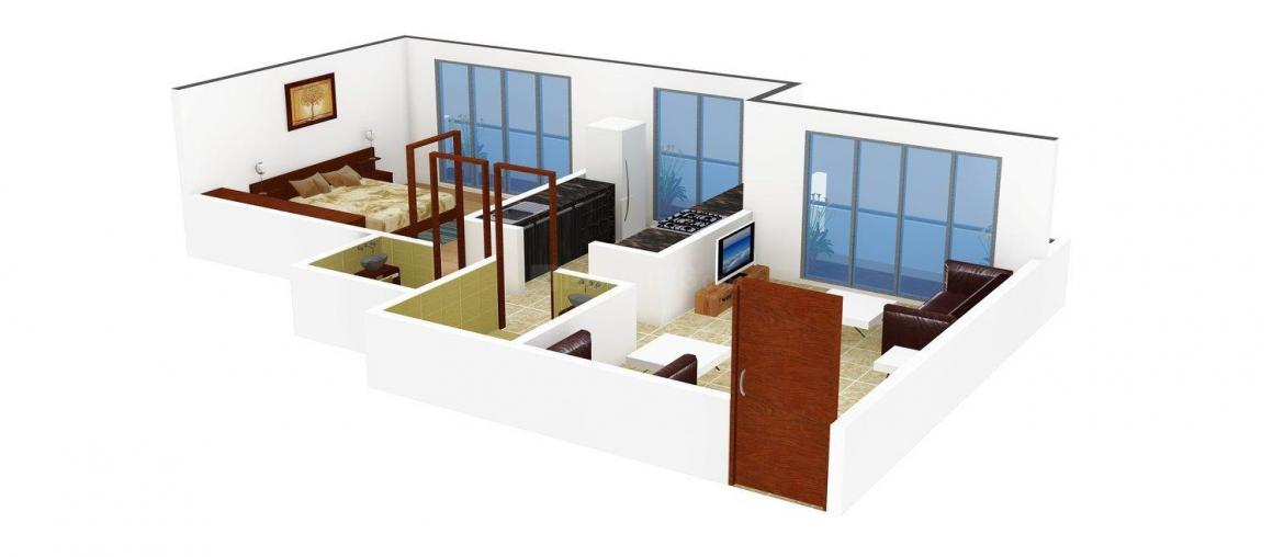 Floor Plan Image of 0 - 580.0 Sq.ft 1 BHK Apartment for buy in Khatri Indrapuri