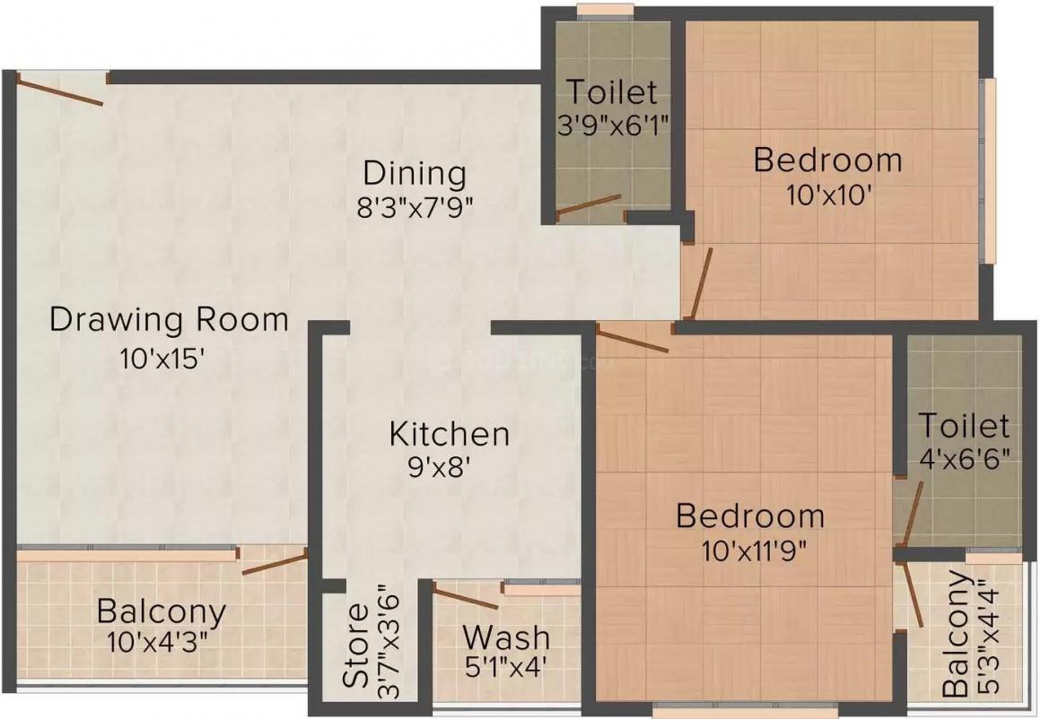 Shafalya Shlok Parisar Floor Plan: 2 BHK Unit with Built up area of 1170 sq.ft 1