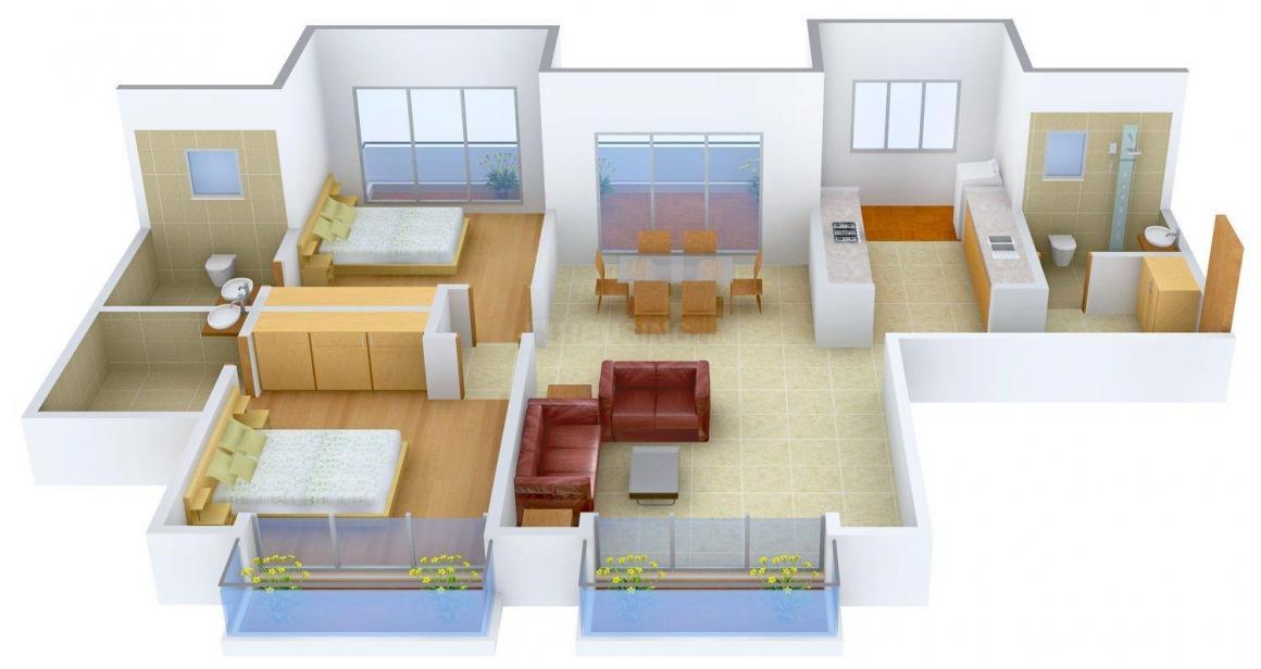 K Raheja Corp Viva Floor Plan: 2 BHK Unit with Built up area of 1550 sq.ft 1
