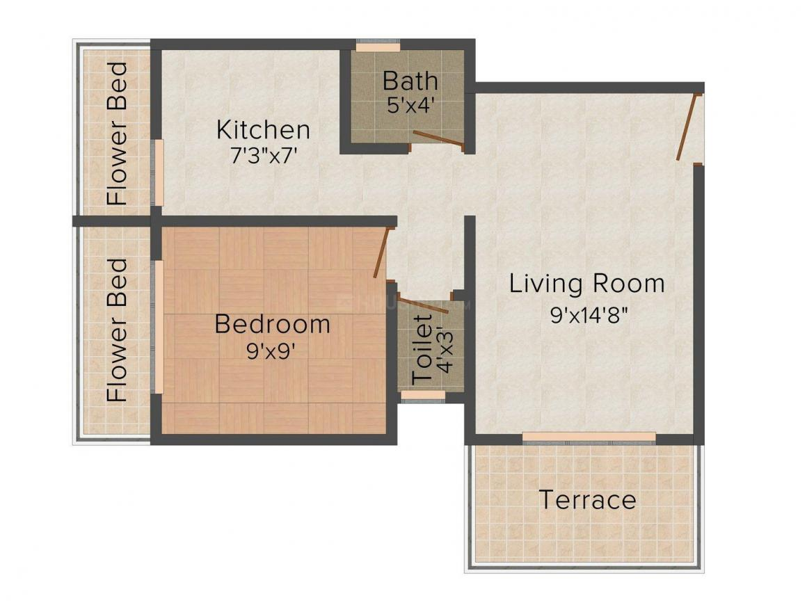 Floor Plan Image of 600.0 - 700.0 Sq.ft 1 BHK Apartment for buy in Bhoomi Anand Darshan
