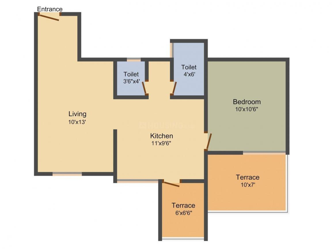 Tatyasaheb Bhintade Ganesh Galaxy Floor Plan: 1 BHK Unit with Built up area of 670 sq.ft 1
