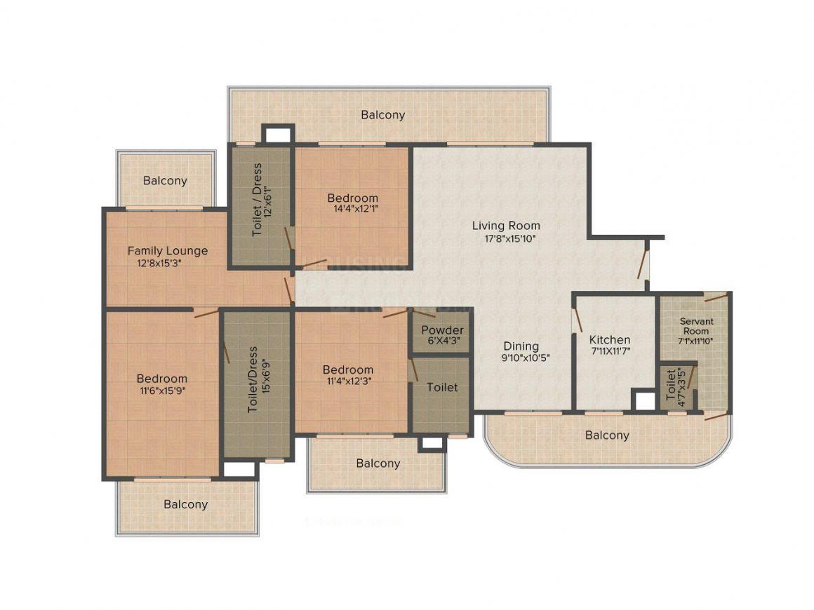 Bestech Park View Grand Spa Floor Plan: 3 BHK Unit with Built up area of 2660 sq.ft 1