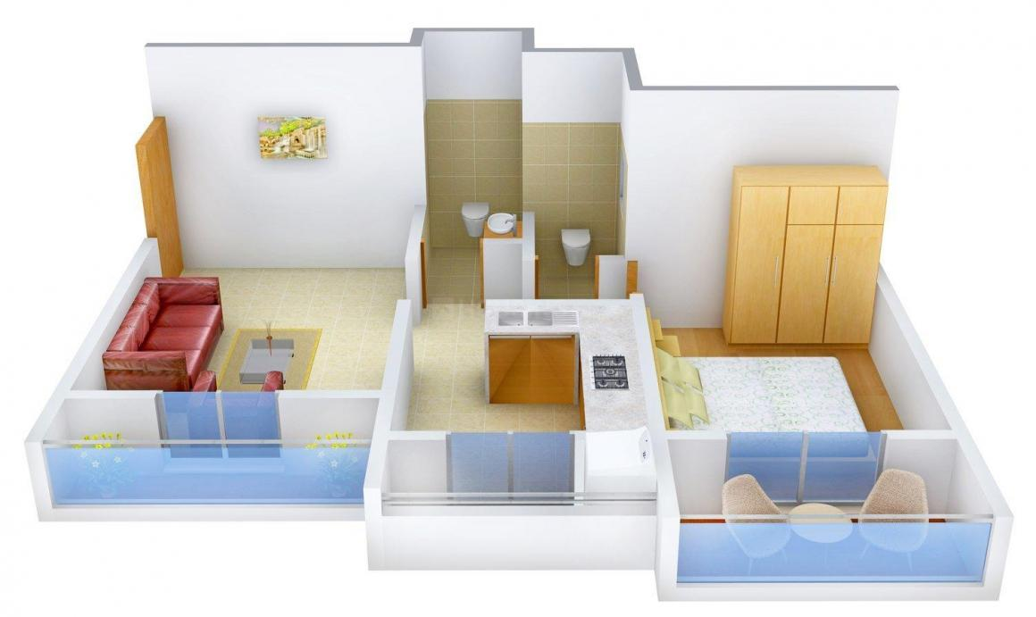 Floor Plan Image of 650.0 - 950.0 Sq.ft 1 BHK Apartment for buy in Shree Satya Sai Solitaire - II