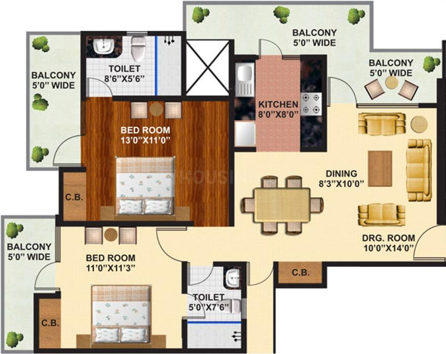Arihant Ambience Floor Plan: 2 BHK Unit with Built up area of 1260 sq.ft 1
