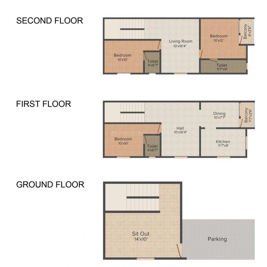 Floor Plan Image of 0 - 1740 Sq.ft 3 BHK Villa for buy in MGP Sailajha Gardens