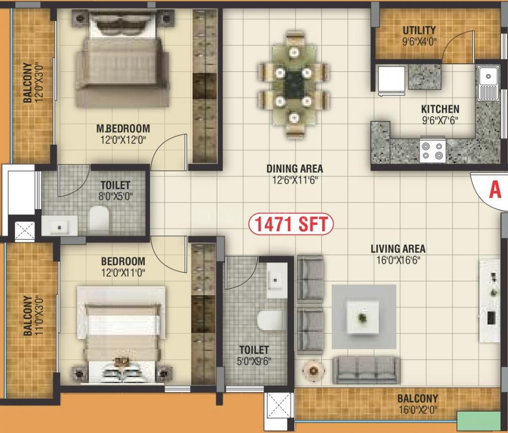 Nishchith Homes Floor Plan: 2 BHK Unit with Built up area of 1471 sq.ft 1