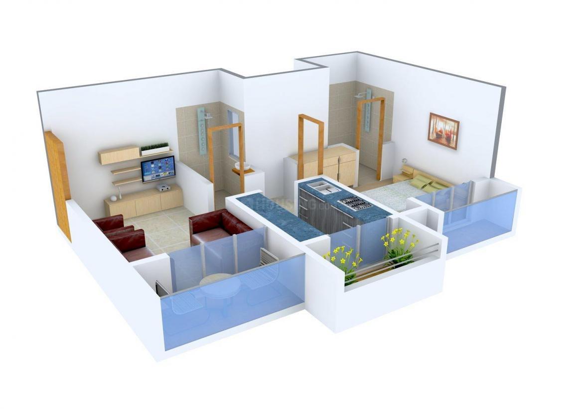 Floor Plan Image of 680.0 - 690.0 Sq.ft 1 BHK Apartment for buy in Shree Nidhi Sahakar Heights