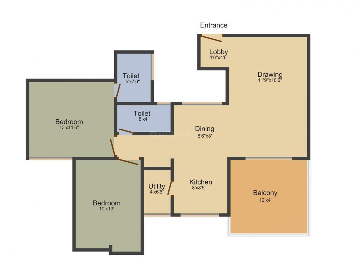 Oxygen Raindrops Floor Plan: 2 BHK Unit with Built up area of 1225 sq.ft 1