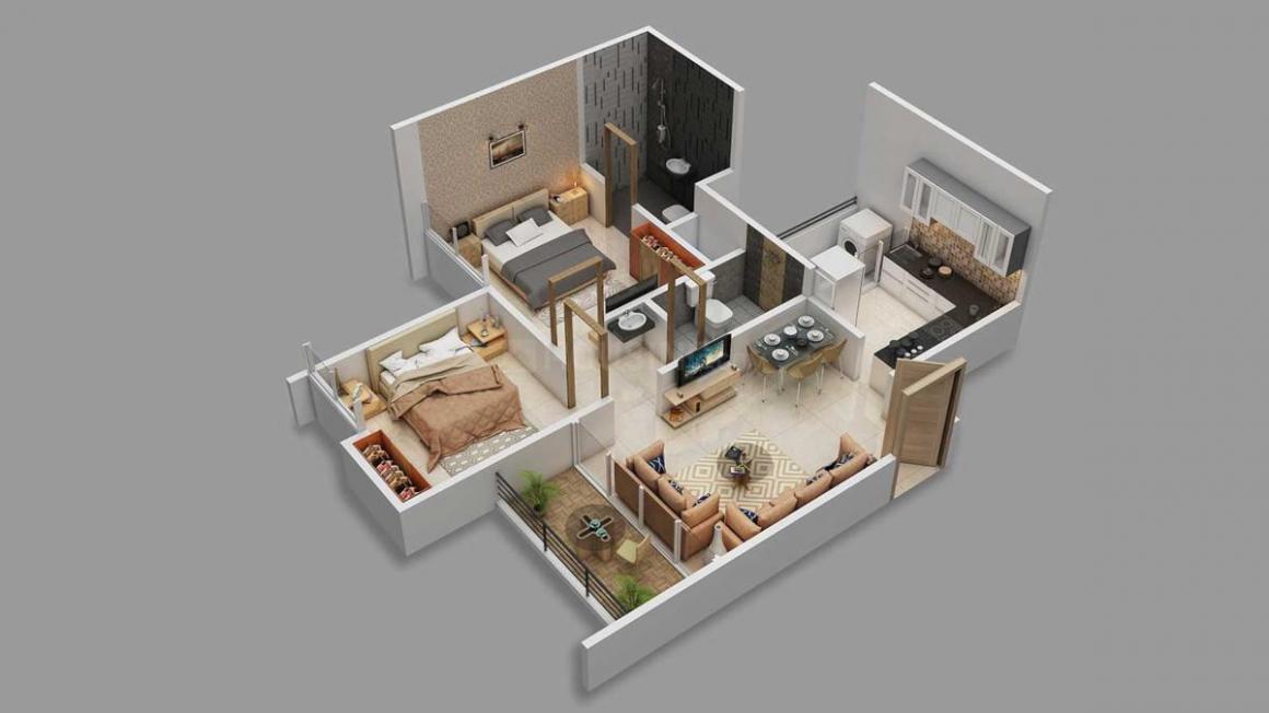 Majestique Mrugavarsha Phase II Floor Plan: 2 BHK Unit with Built up area of 559 sq.ft 1