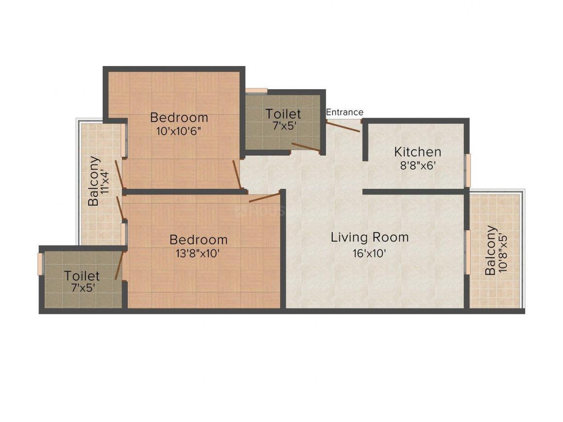 Floor Plan Image of 0 - 900 Sq.ft 2 BHK Apartment for buy in KBNOWS Vihar