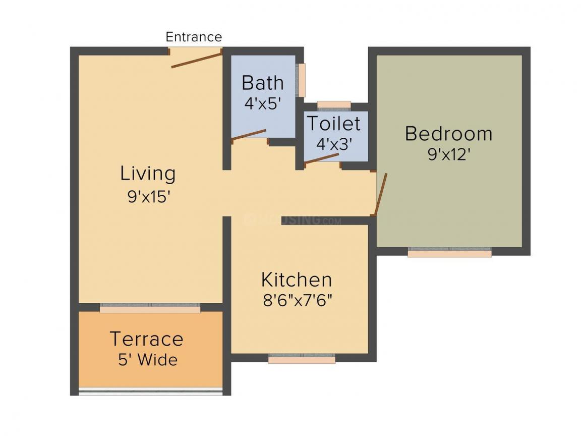 Floor Plan Image of 0 - 656.0 Sq.ft 1 BHK Apartment for buy in SD Mohini Residency