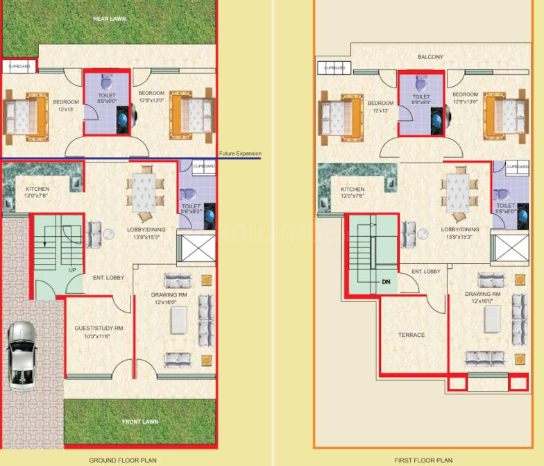 TDI City Kundli Floor Plan: 2 BHK Unit with Built up area of 1205 sq.ft 1