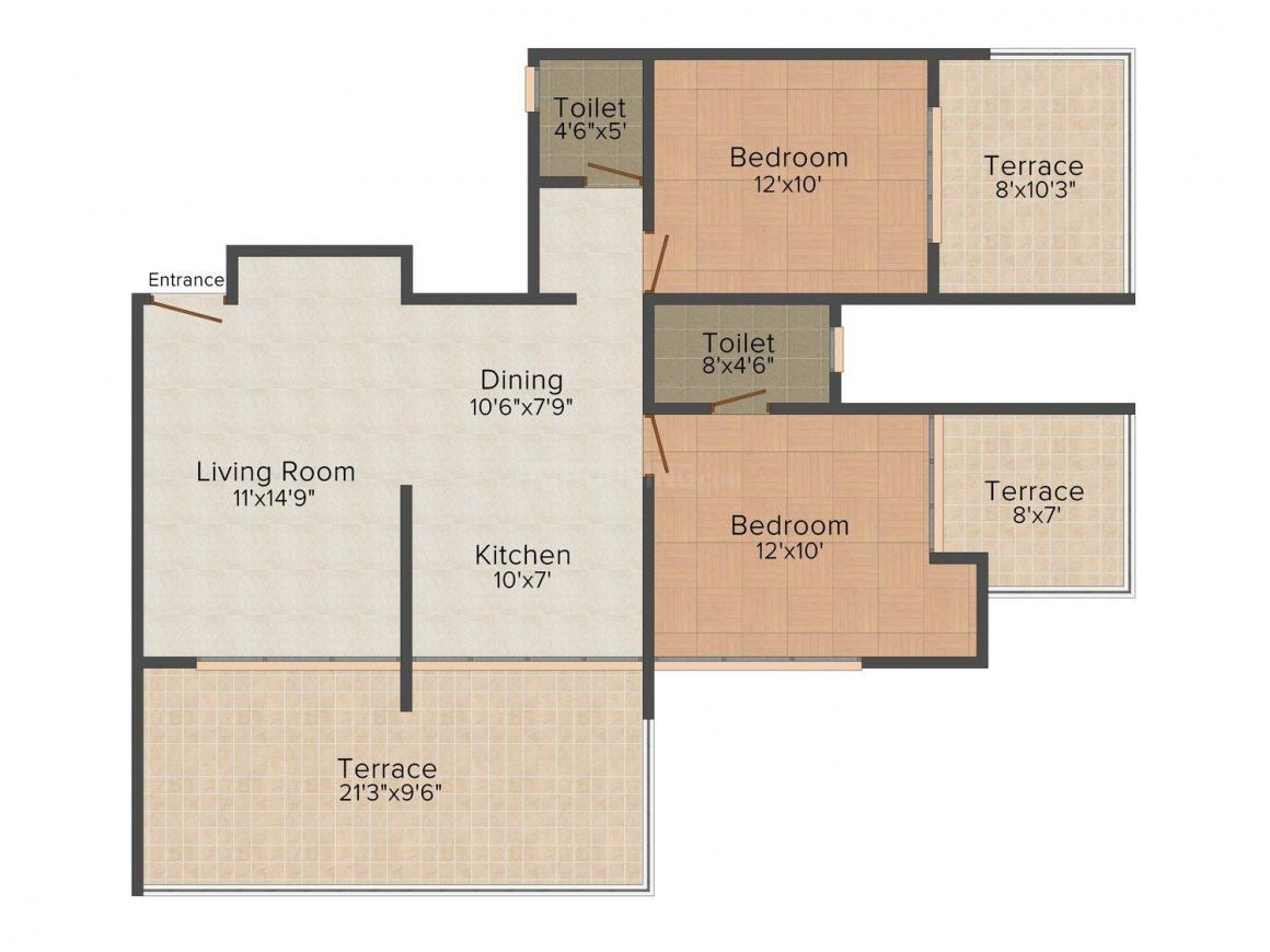 Floor Plan Image of 0 - 1083.0 Sq.ft 2 BHK Apartment for buy in Thakkers Enclave