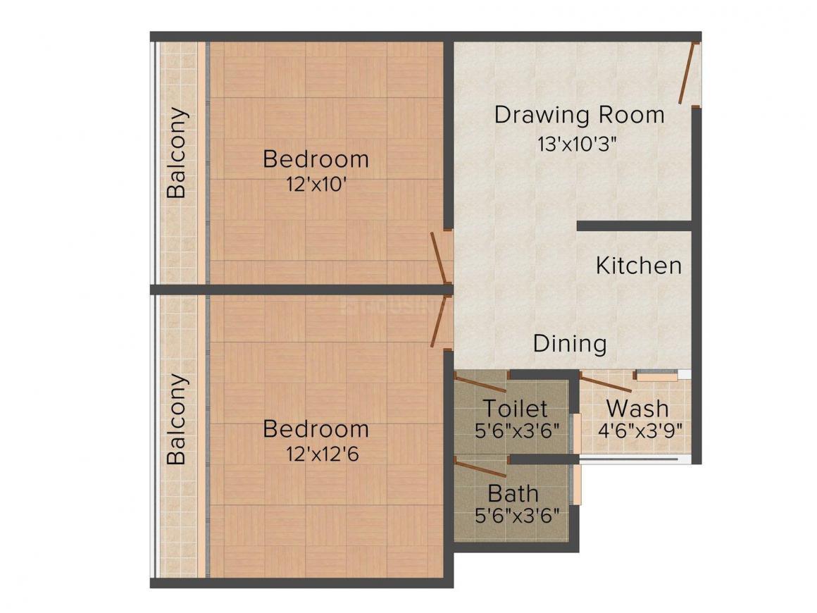 Floor Plan Image of 0 - 765 Sq.ft 2 BHK Apartment for buy in Luxuria II