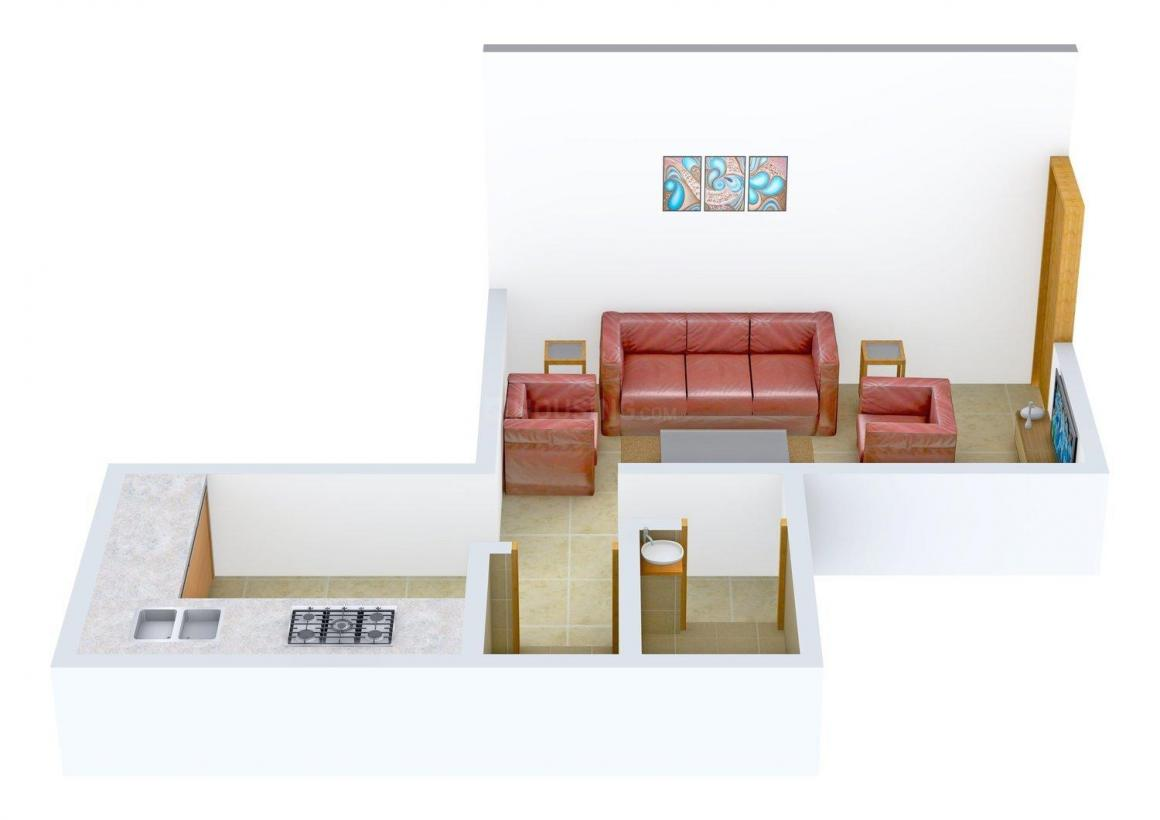 Real Sai Sapphire Apartment Floor Plan: 1 BHK Unit with Built up area of 415 sq.ft 1