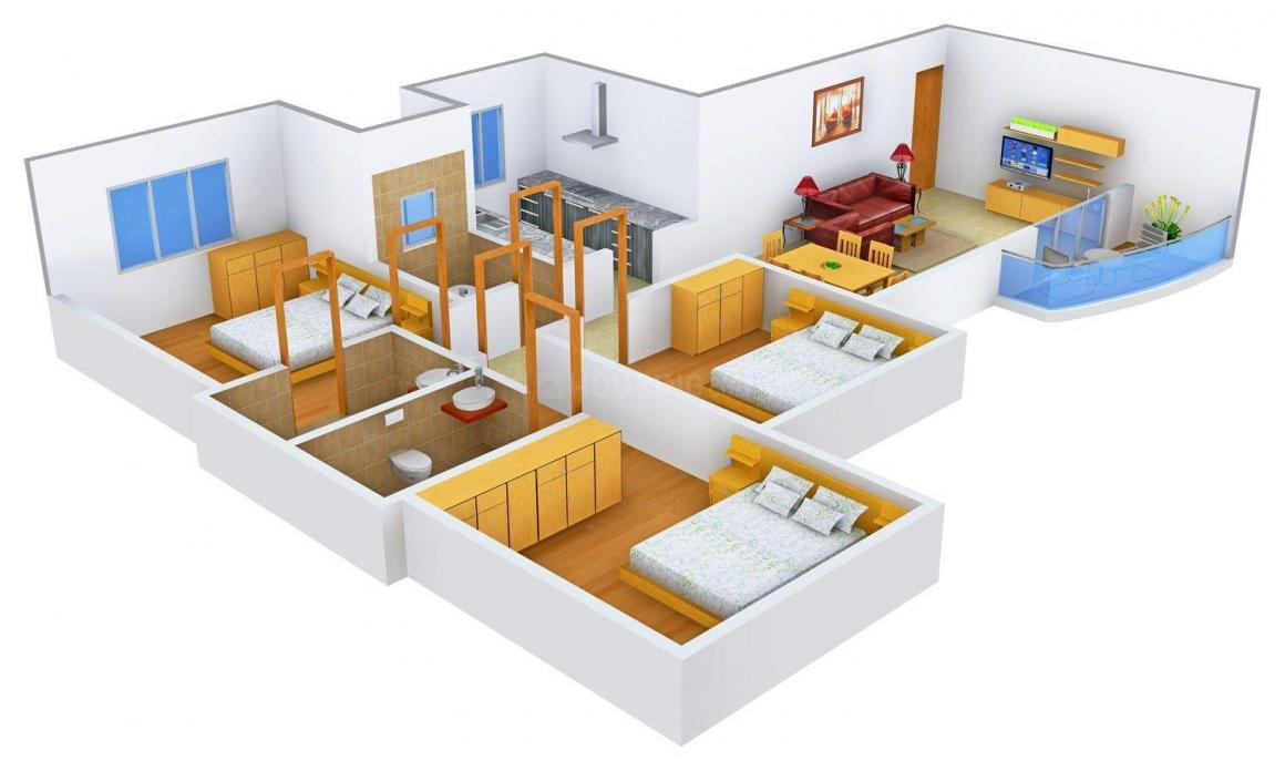 Floor Plan Image of 0 - 1021.0 Sq.ft 3 BHK Apartment for buy in Tridhaatu Aumkaar