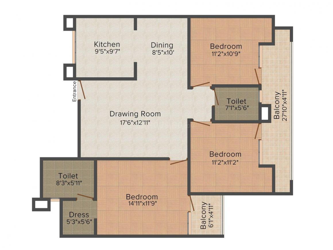 HR Greens Shiva Apartments Floor Plan: 3 BHK Unit with Built up area of 1410 sq.ft 1