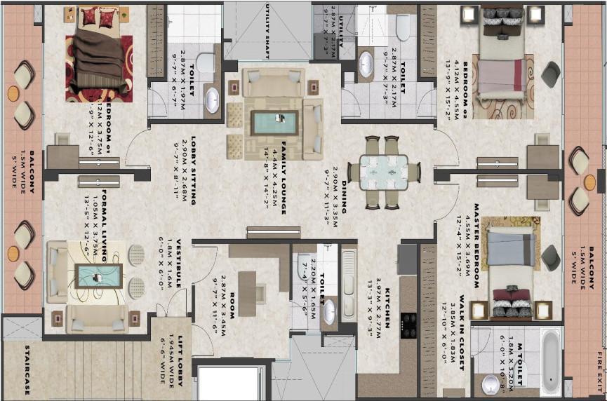 Uchdpl Veridia Oakwood Enclave Floor Plan: 4 BHK Unit with Built up area of 2385 sq.ft 1
