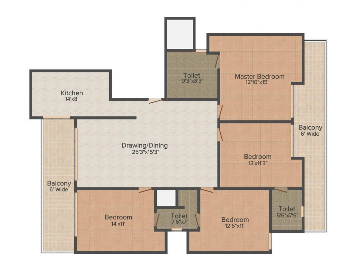 Sketch Luxury Floors Floor Plan: 4 BHK Unit with Built up area of 2000 sq.ft 1