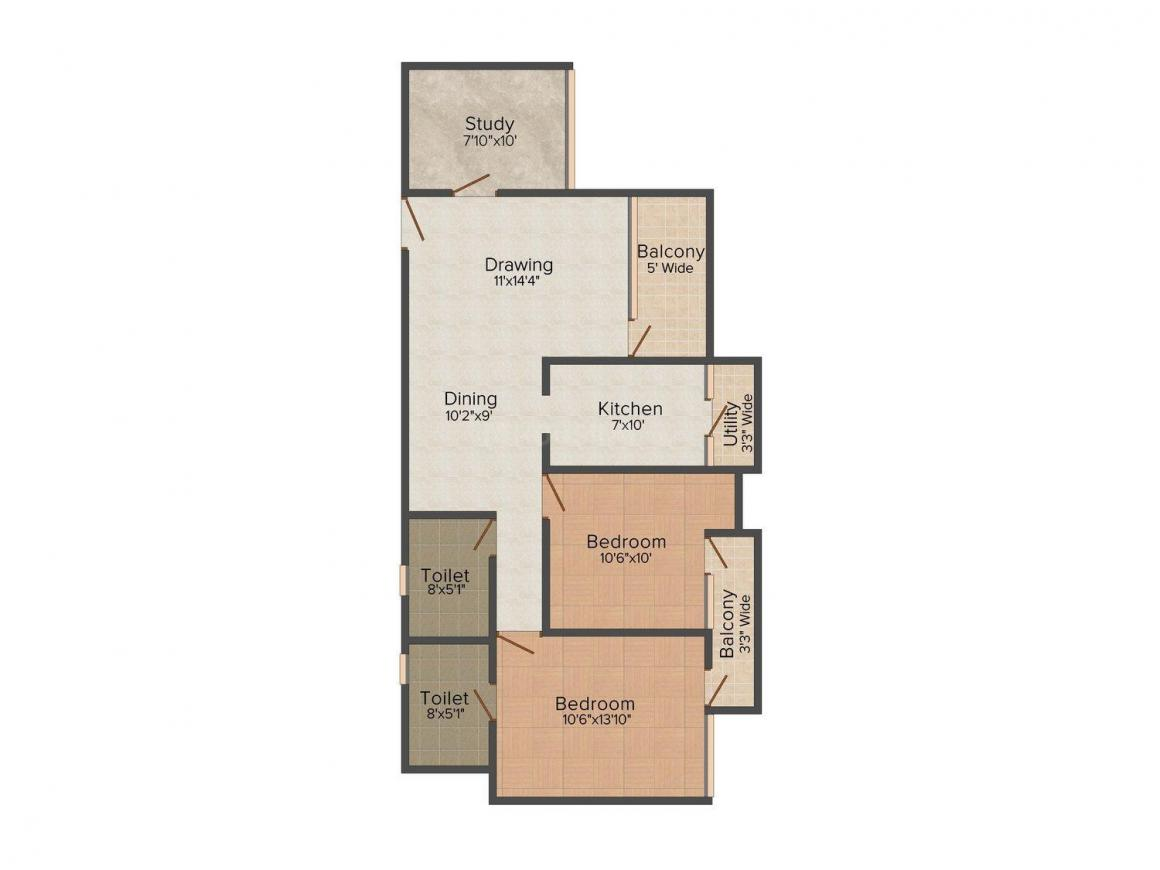Omega Pride Heights - 2 Floor Plan: 2 BHK Unit with Built up area of 1100 sq.ft 1