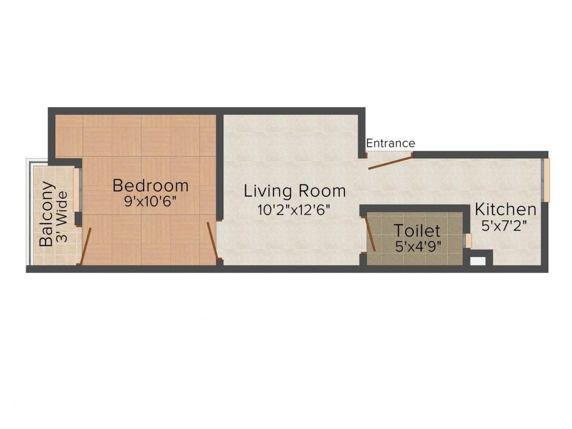 Shyam Home 3 Floor Plan: 1 BHK Unit with Built up area of 405 sq.ft 1