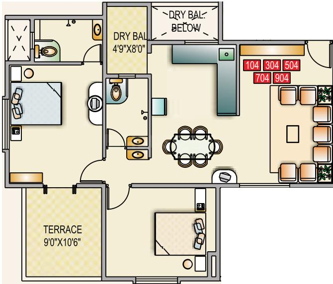 Sancheti Mount n Glory Floor Plan: 2 BHK Unit with Built up area of 1095 sq.ft 1