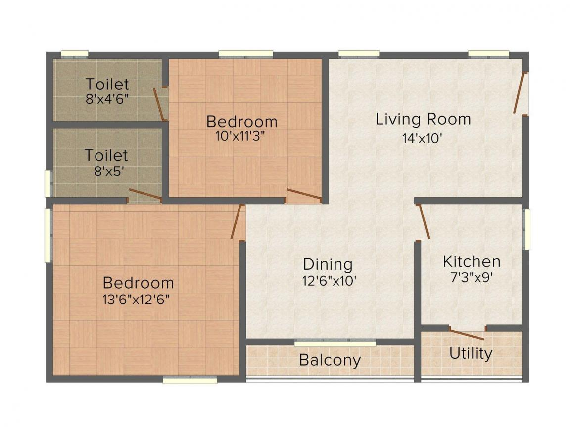 Floor Plan Image of 200.0 - 322.0 Sq.ft 2 BHK Apartment for buy in Muppa's Aishwarya