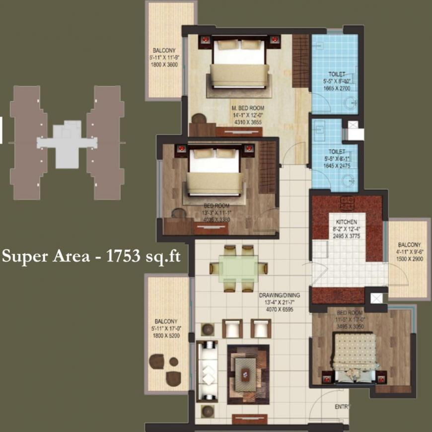 AIPL Club Residences Floor Plan: 3 BHK Unit with Built up area of 1753 sq.ft 1