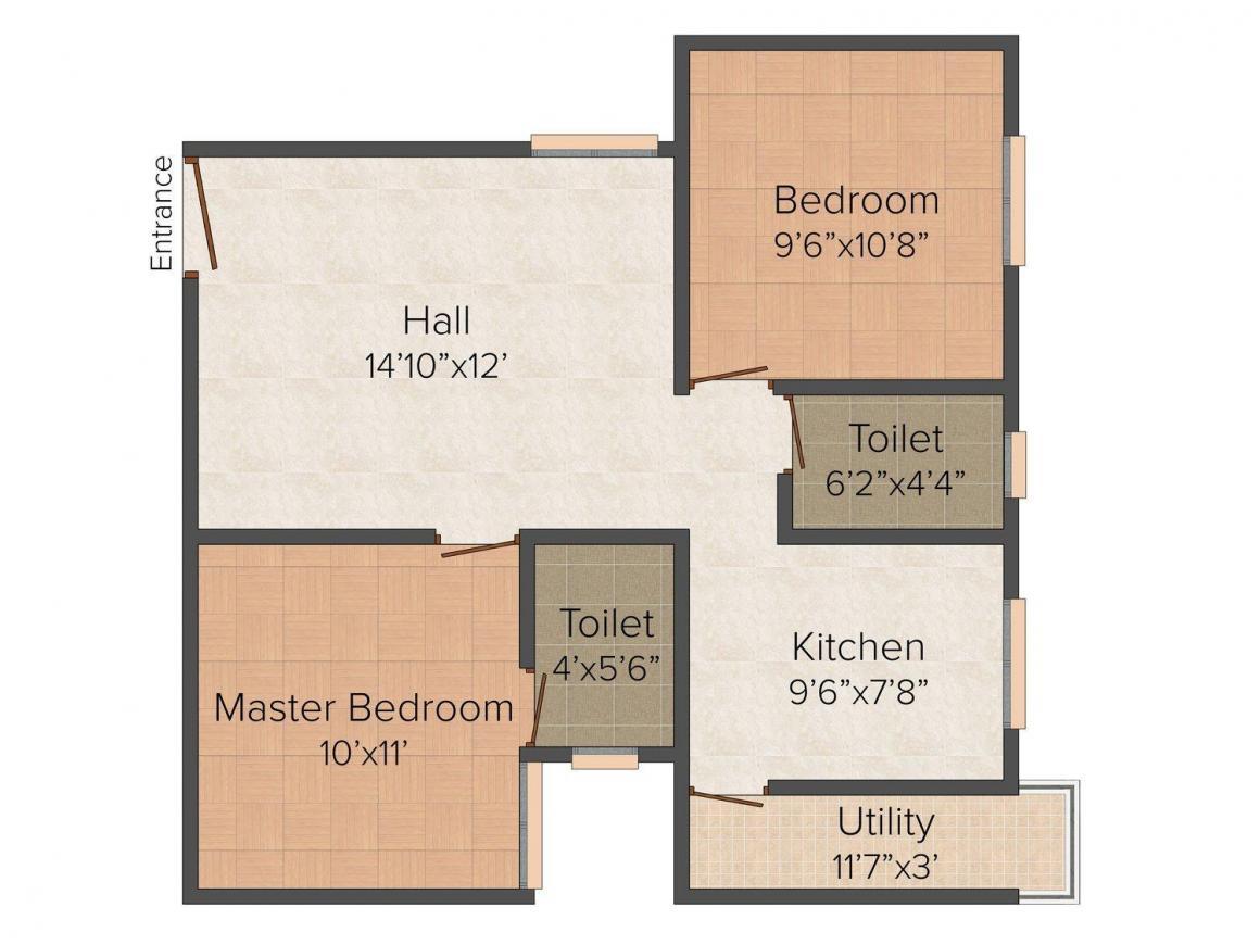 Sravan Derhaus Floor Plan: 2 BHK Unit with Built up area of 759 sq.ft 1