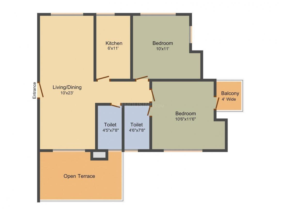 Floor Plan Image of 1034.0 - 1471.0 Sq.ft 2 BHK Apartment for buy in Aspirations Orchid