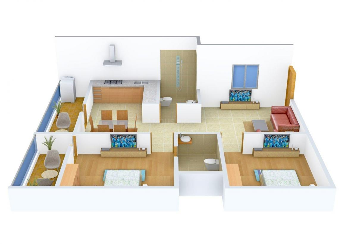 Floor Plan Image of 1125.0 - 1545.0 Sq.ft 2 BHK Apartment for buy in Keystone Sri Sai Paradise