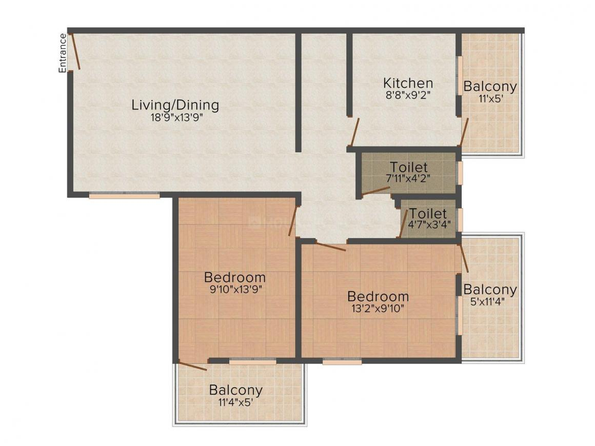 Floor Plan Image of 471 - 1467 Sq.ft 1 BHK Studio Apartment for buy in Andre Leena Apartments