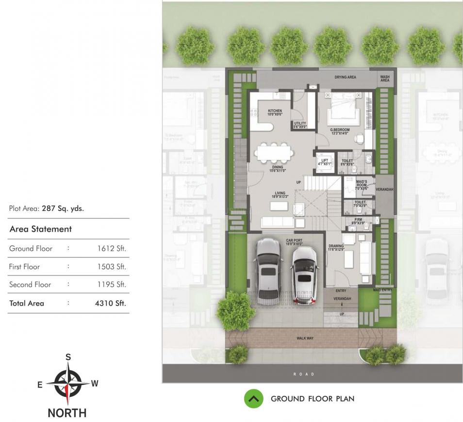 SMR SMS Vinay Casa Carino Floor Plan: 4 BHK Unit with Built up area of 4310 sq.ft 1