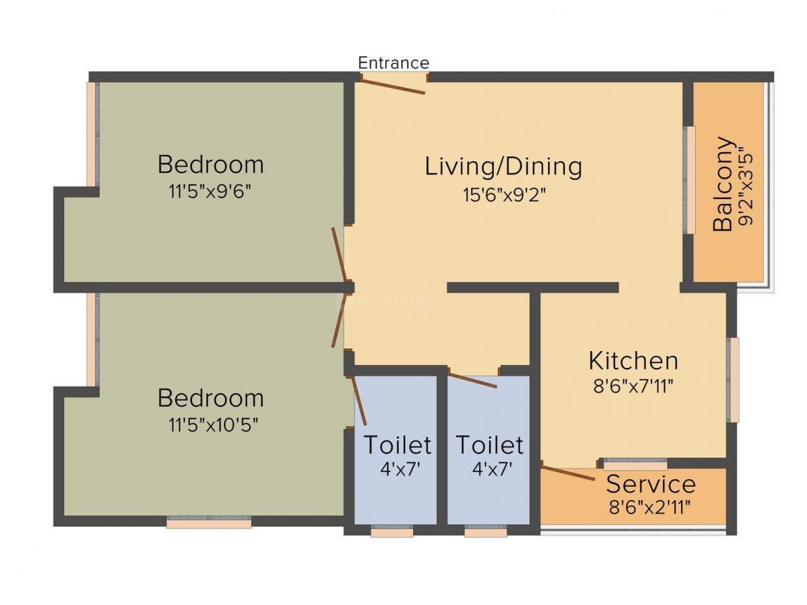 Keerthi Ruvantika Floor Plan: 2 BHK Unit with Built up area of 820 sq.ft 1