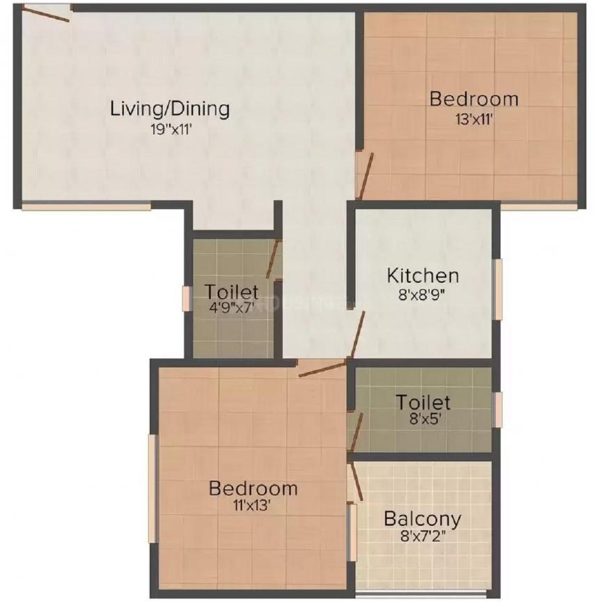 Shree Siddhivinayak Surya Pooja Floor Plan: 2 BHK Unit with Built up area of 1008 sq.ft 1