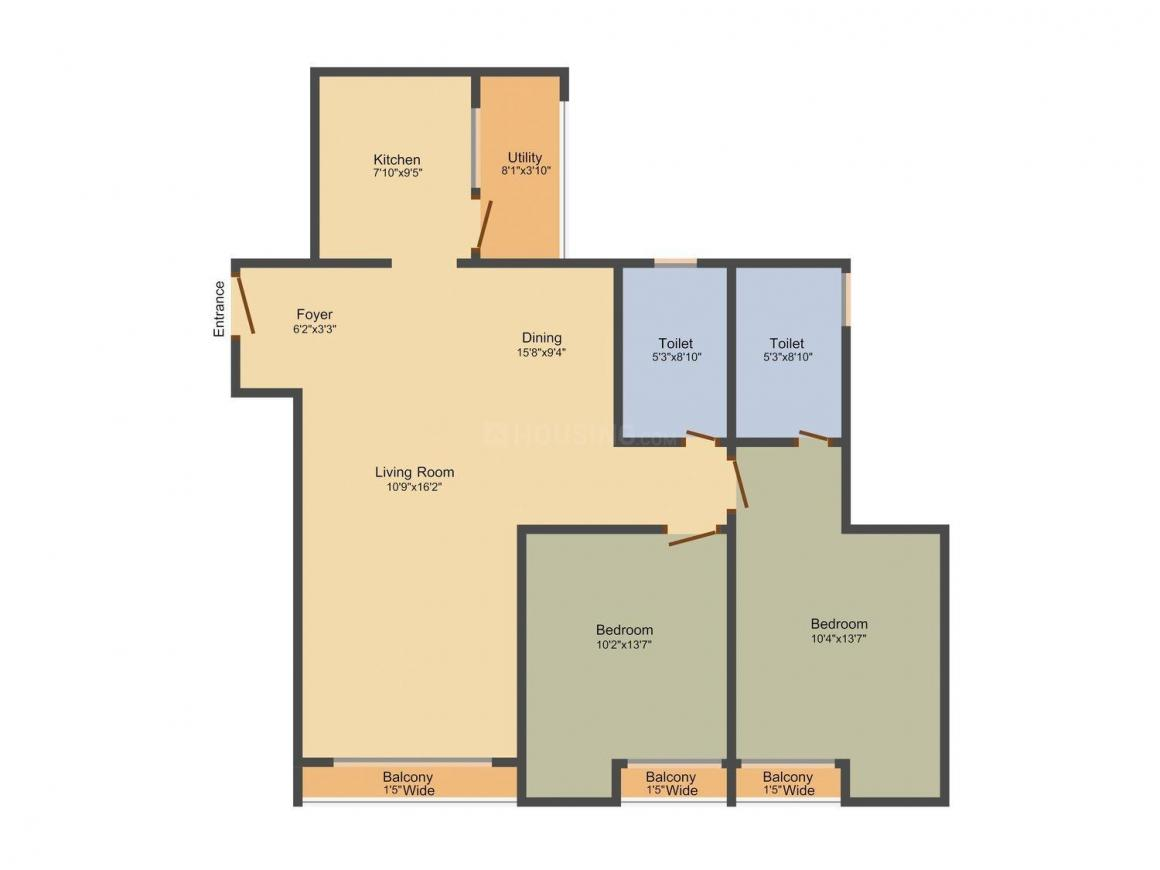 Floor Plan Image of 1290.0 - 1706.0 Sq.ft 2 BHK Apartment for buy in Sobha The Park And The Plaza