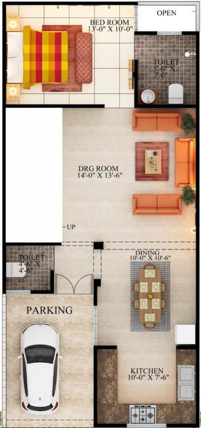 Parisha Home Pvt Ltd Floor Plan: 1 BHK Unit with Built up area of 50 sq.yd 1