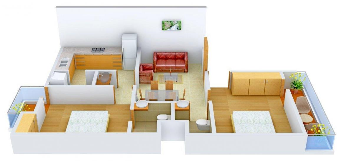 Floor Plan Image of 0 - 900 Sq.ft 2 BHK Apartment for buy in Sangam Sangam Homes