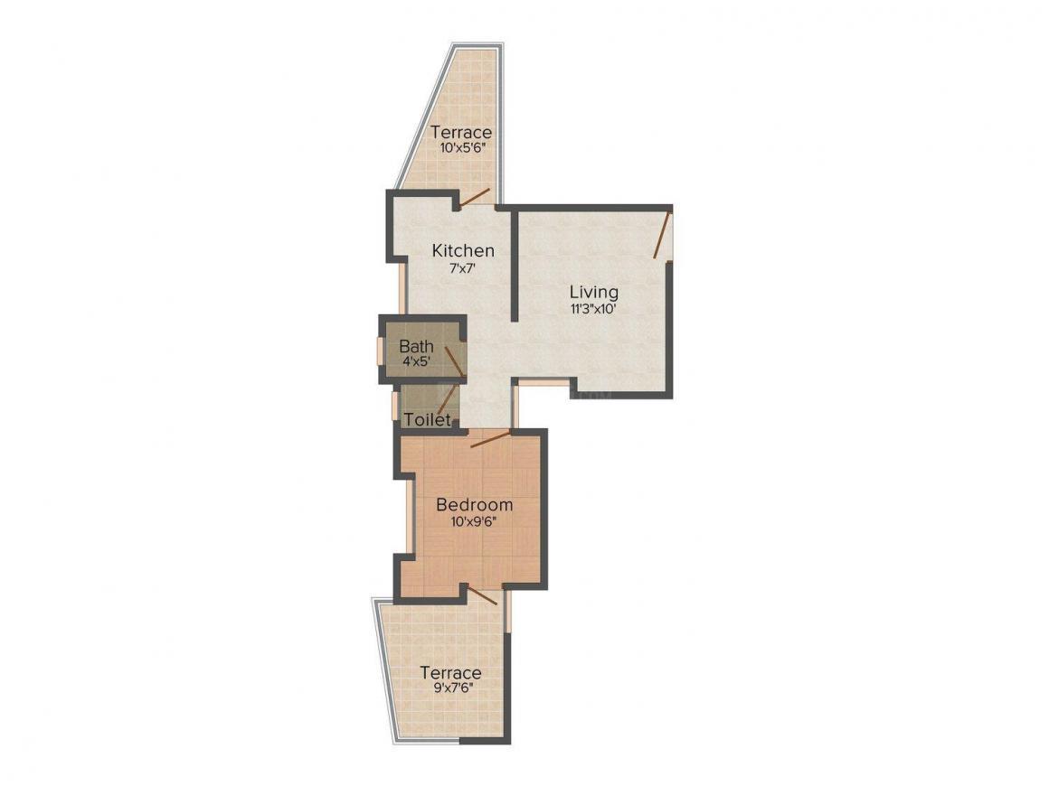 Avishkar Ganga Heights Floor Plan: 1 BHK Unit with Built up area of 521 sq.ft 1
