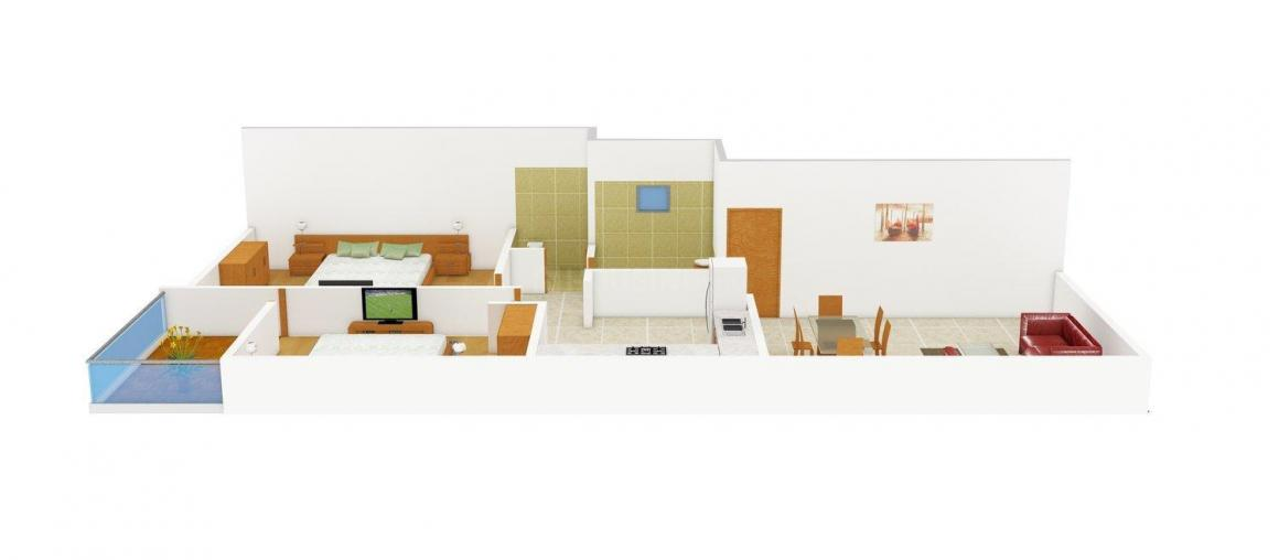 Floor Plan Image of 800 - 845 Sq.ft 2 BHK Apartment for buy in Disha Shree Ganeshay Apartment